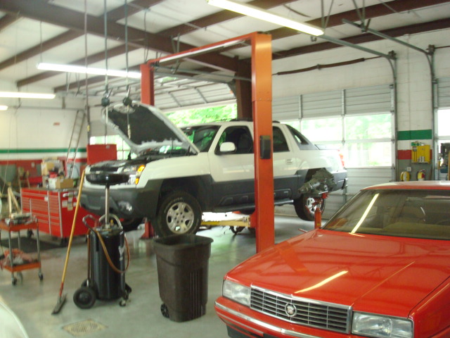 Lifted Vehicle in Shop